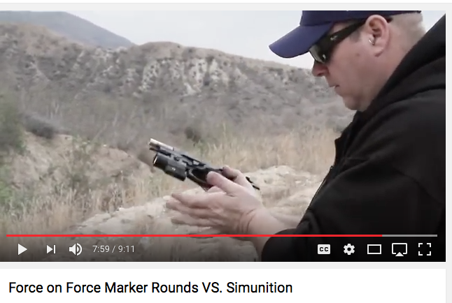 YouTube video of functional tests between SIMUNITION FX Marking Cartridges and ATK Force on Force ammunition